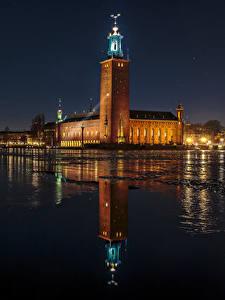 Fotos Schweden Stockholm Haus Flusse Nacht Spiegelung Spiegelbild Städte