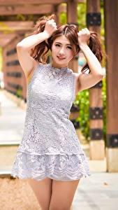 Fotos Asiatische Hand Bokeh Kleid Braune Haare Pose junge Frauen