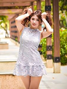Images Asian Hands Bokeh Frock Brown haired Pose female