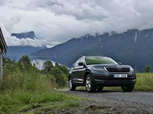 Hintergrundbilder Skoda Berg Softroader Metallisch Kodiaq, 2016 auto