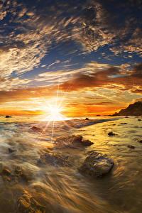 Hintergrundbilder USA Küste Morgendämmerung und Sonnenuntergang Landschaftsfotografie Steine Himmel Wolke Sonne Matador State Beach Malibu Natur