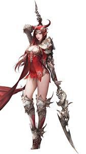 Fotos Krieger Weißer hintergrund Speer Hübsch Daeho Cha Goddess of Dragon Fantasy Mädchens