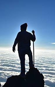 Hintergrundbilder Mann Kletterer Felsen Wolke Silhouetten Natur