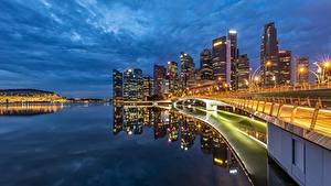 Fotos Küste Gebäude Abend Singapur Brücken Bucht Städte