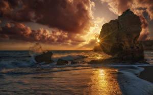 Hintergrundbilder Portugal Sonnenaufgänge und Sonnenuntergänge Küste Wasserwelle Steine Wolke Felsen Sonne