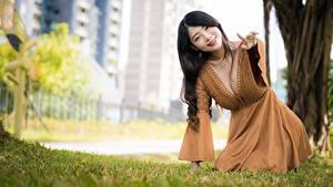 Hintergrundbilder Asiatische Unscharfer Hintergrund Pose Kleid Dekolleté Braunhaarige junge Frauen