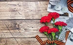 Papéis de parede Dia da Vitória 9 de maio Dianthus Tábuas de madeira Flores
