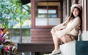Bilder Asiatische Bokeh Sitzend Rock Sweatshirt Barett Braune Haare Starren