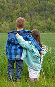 Wallpaper Fields Boys Little girls 2 Hugs Grass Jacket child
