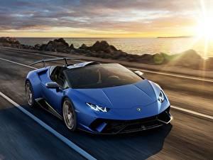 Hintergrundbilder Lamborghini Wege Blau Roadster Huracan 2018 Spyder