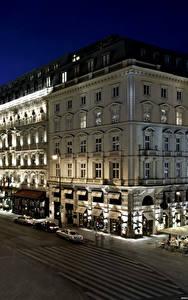 Bilder Wien Österreich Gebäude Wege Hotel Straße Nacht Straßenlaterne Hotel Sacher