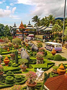 Hintergrundbilder Thailand Park Skulpturen Strauch Design Nong Nooch Tropical Botanical Garden Natur