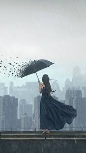 Hintergrundbilder Vögel Regen Haus Regenschirm Kleid Fantasy Mädchens