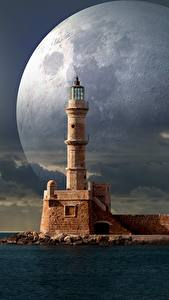 Wallpapers Sea Lighthouses Moon Fantasy