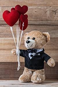 Papel de Parede Desktop Dia dos Namorados Urso de pelúcia Tábuas de madeira