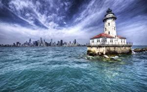 Hintergrundbilder Leuchtturm Vereinigte Staaten HDR Chicago Stadt Illinois, Harbor Lighthouse Städte