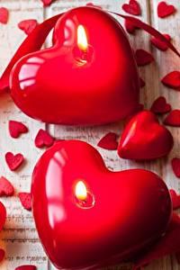 Papel de Parede Desktop Velas Dia dos Namorados Coração Vermelho