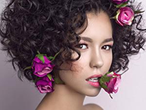 Fotos Rosen Lockige Starren Blick Schönes Schön Brünette Frisur
