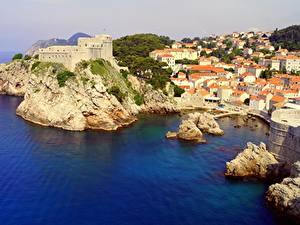 Bilder Kroatien Küste Meer Burg Gebäude Dubrovnik Felsen Dubrovnik-Neretva County Städte