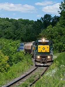 Fotos Vereinigte Staaten Züge Eisenbahn Wälder Loks Massachusetts Natur