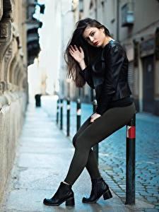 Image Ester Merja Brunette girl Jacket Pose Hands Legs Luigi Malanetto Girls