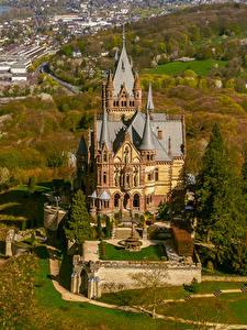Bilder Deutschland Herbst Burg Haus Von oben Drachenburg Schloss Städte