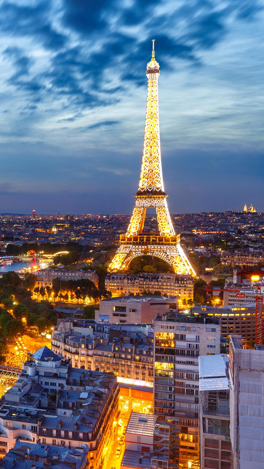 壁紙 1080x1920 空 夕 フランス エッフェル塔 パリ 上から