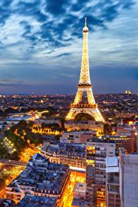 Bilder Himmel Abend Frankreich Eiffelturm Paris Von oben Städte