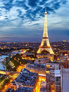 Bilder Himmel Abend Frankreich Eiffelturm Paris Von oben