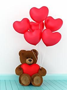 Papel de Parede Desktop Urso de pelúcia Dia dos Namorados Coração Balão 3D Gráfica