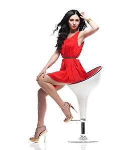 Fotos Weißer hintergrund Stuhl Brünette Kleid Sitzend Hand Bein Stöckelschuh Pose junge frau