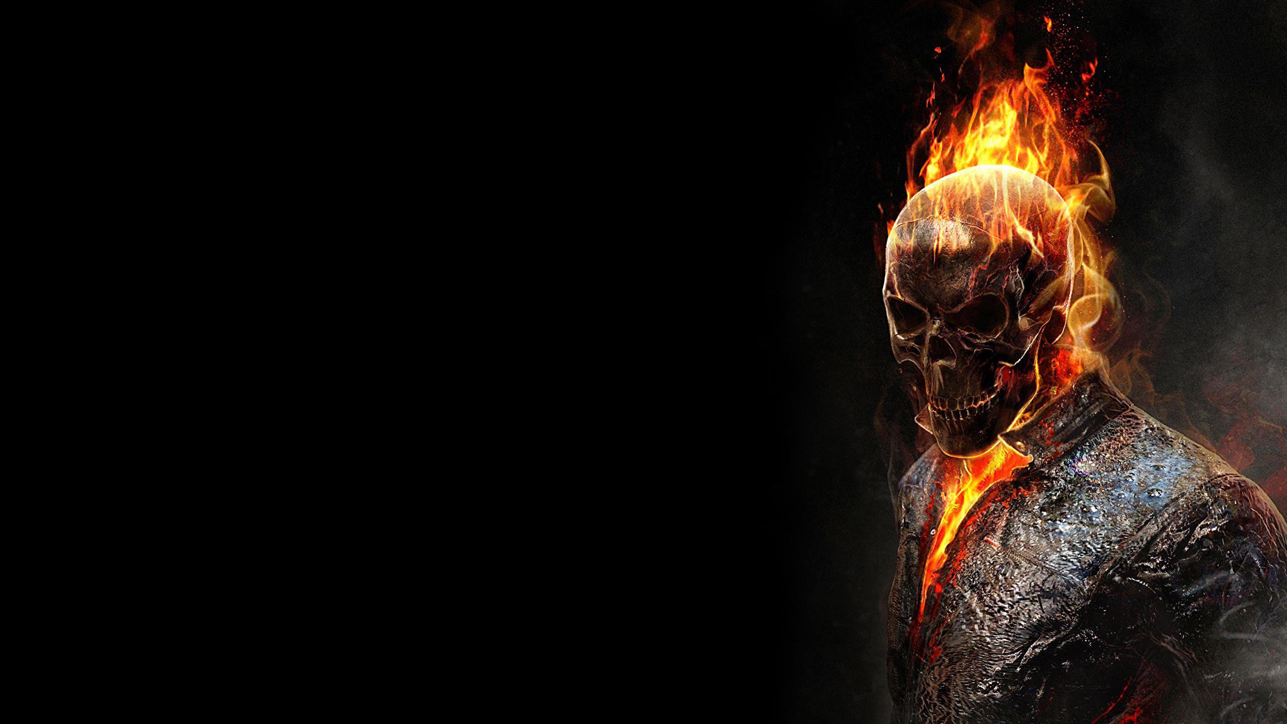Fonds Decran 2560x1440 Ghost Rider Crâne Feu Fan Art Fond