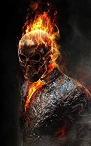 Fotos Ghost Rider Schädel Flamme Fanart Schwarzer Hintergrund Film