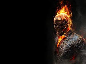 Fotos Ghost Rider Cranium Flamme Fan ART Schwarzer Hintergrund Film
