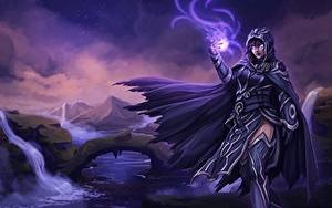 Hintergrundbilder Magier Hexer Magie Magic: The Gathering Umhang Kapuze Fanart Fantasy Mädchens