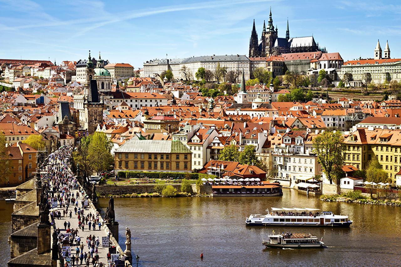 Photo Riverboat Czech Republic Karluv Vltava bridge People Prague Rivers Cities Building Bridges river Houses