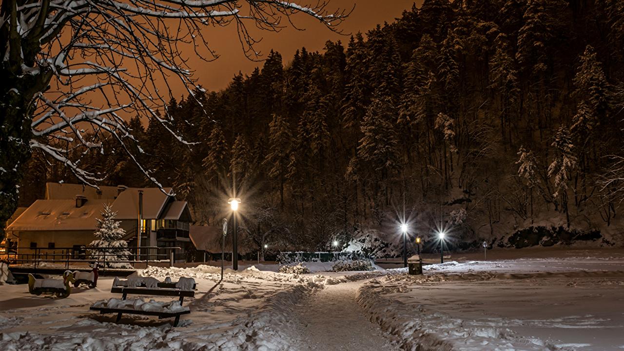 Desktop Wallpapers City Of Zagreb Croatia Samobor Spruce Winter Snow