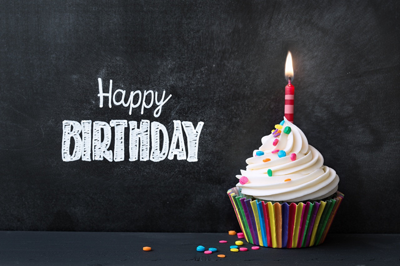 Cupcake Aniversário Velas Inglês Palavra Alimentos