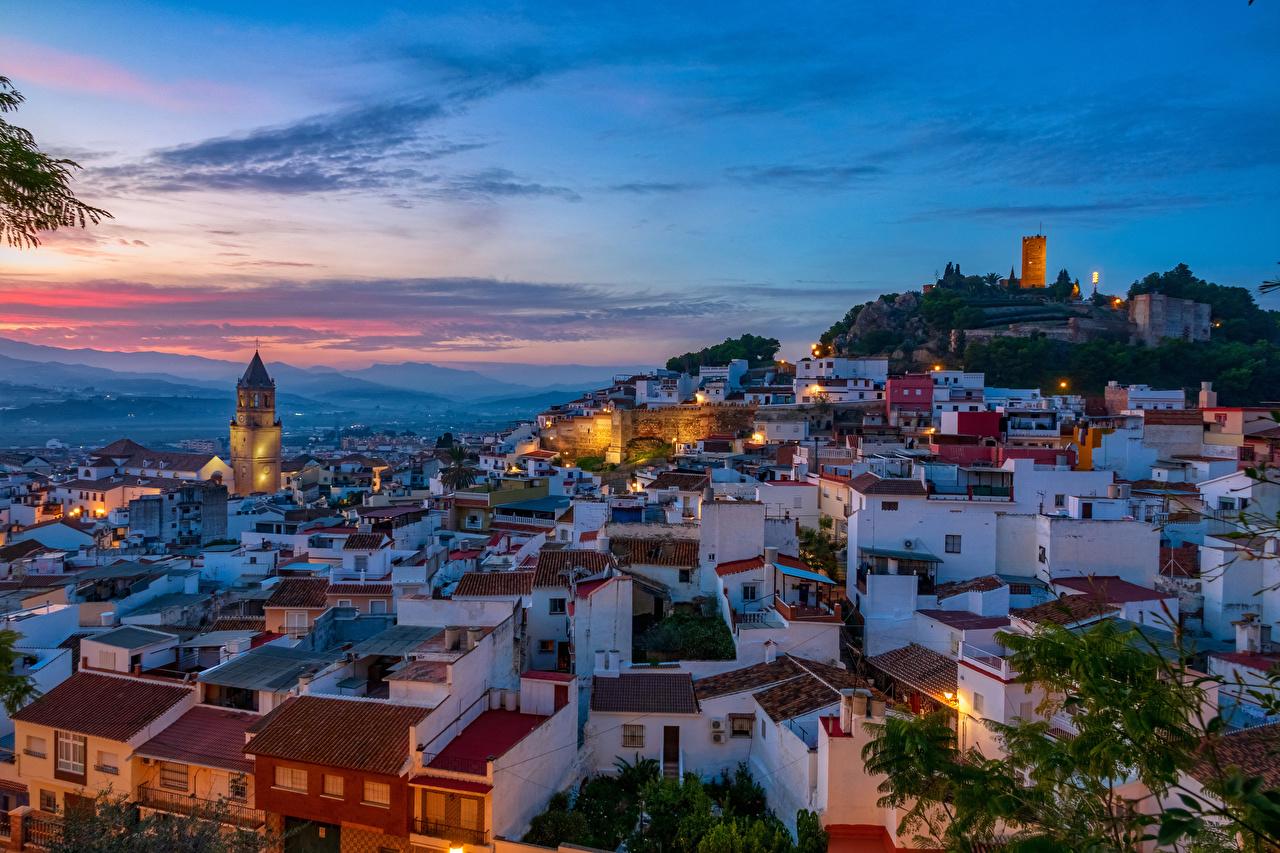 壁紙 スペイン 住宅 夕 Malaga 屋根 都市 ダウンロード 写真