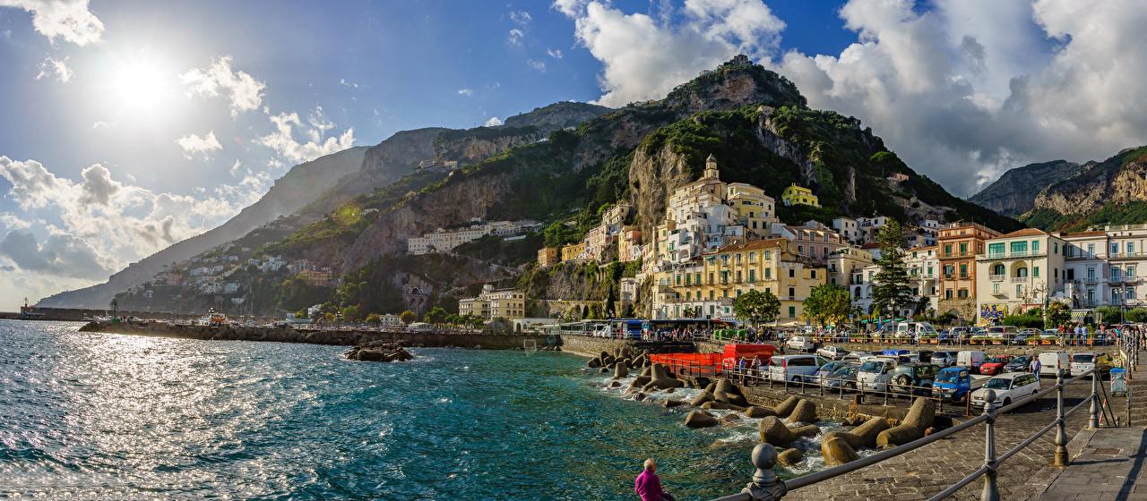 Photo Amalfi Italy mountain Bay Coast stone Cities Building Mountains Stones Houses