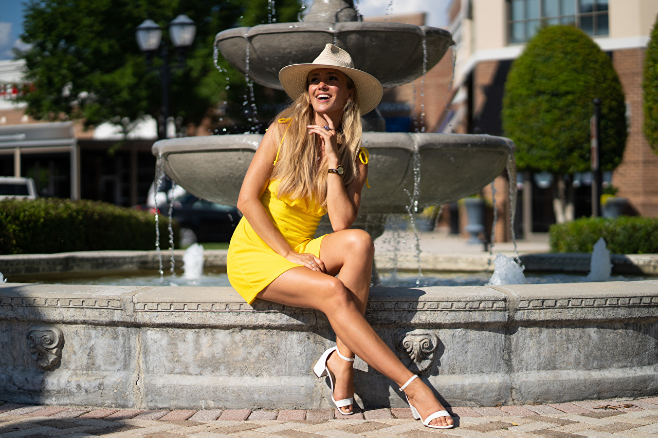 Wallpaper Girls Fountains Legs frock Smile Hat Olga Clevenger female young woman gown Dress