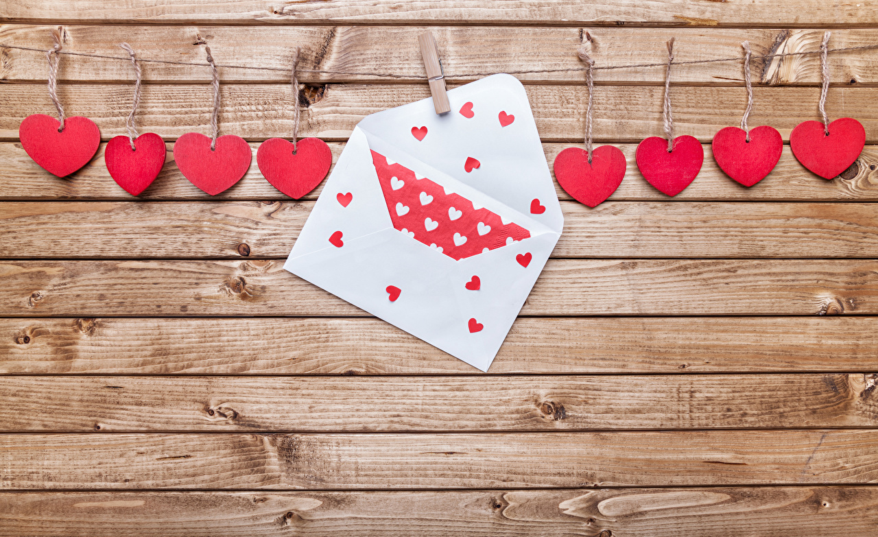 Photo Valentine's Day Heart walls Wood planks Wall boards
