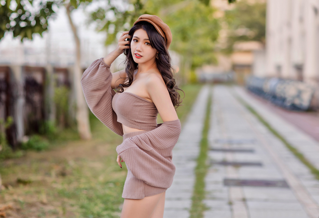 Desktop Wallpapers blurred background Pose female Asian Staring Baseball cap Bokeh posing Girls young woman Asiatic Glance