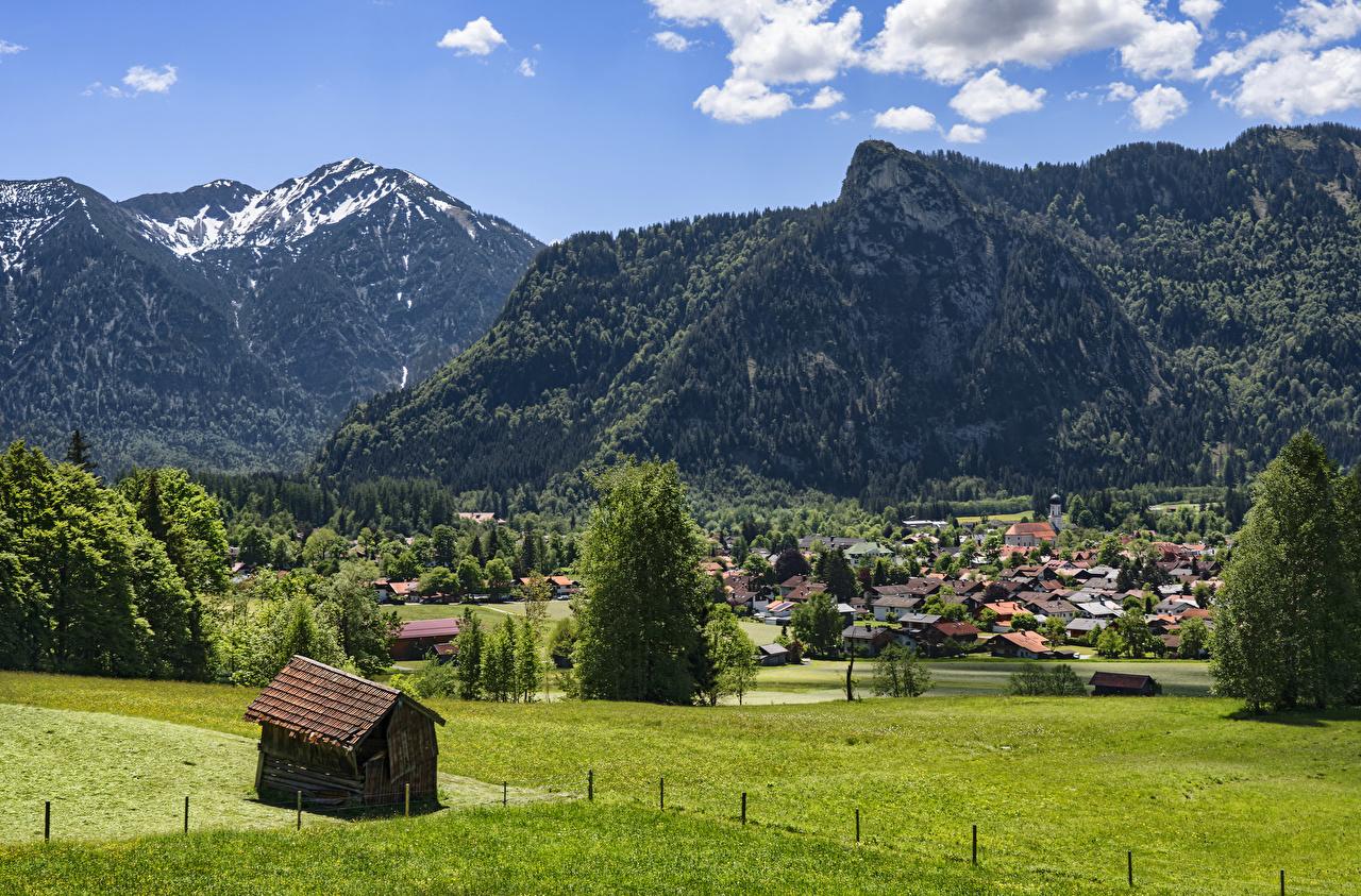 Fotos Bayern Deutschland Oberammergau Berg Haus Bäume Städte Gebirge Gebäude