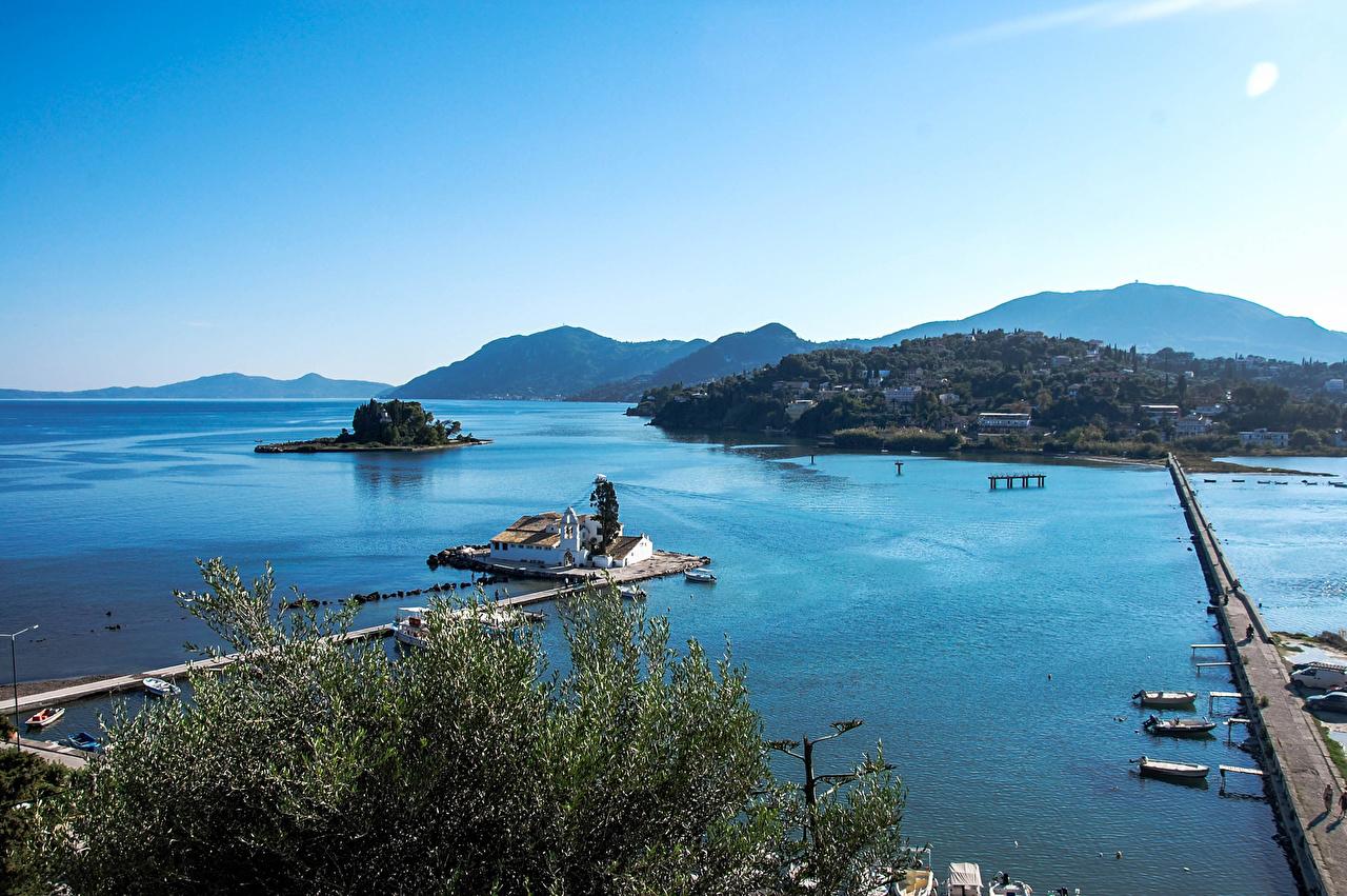 Wallpaper Greece Corfu Nature Bridges Island Bay Marinas bridge Pier Berth