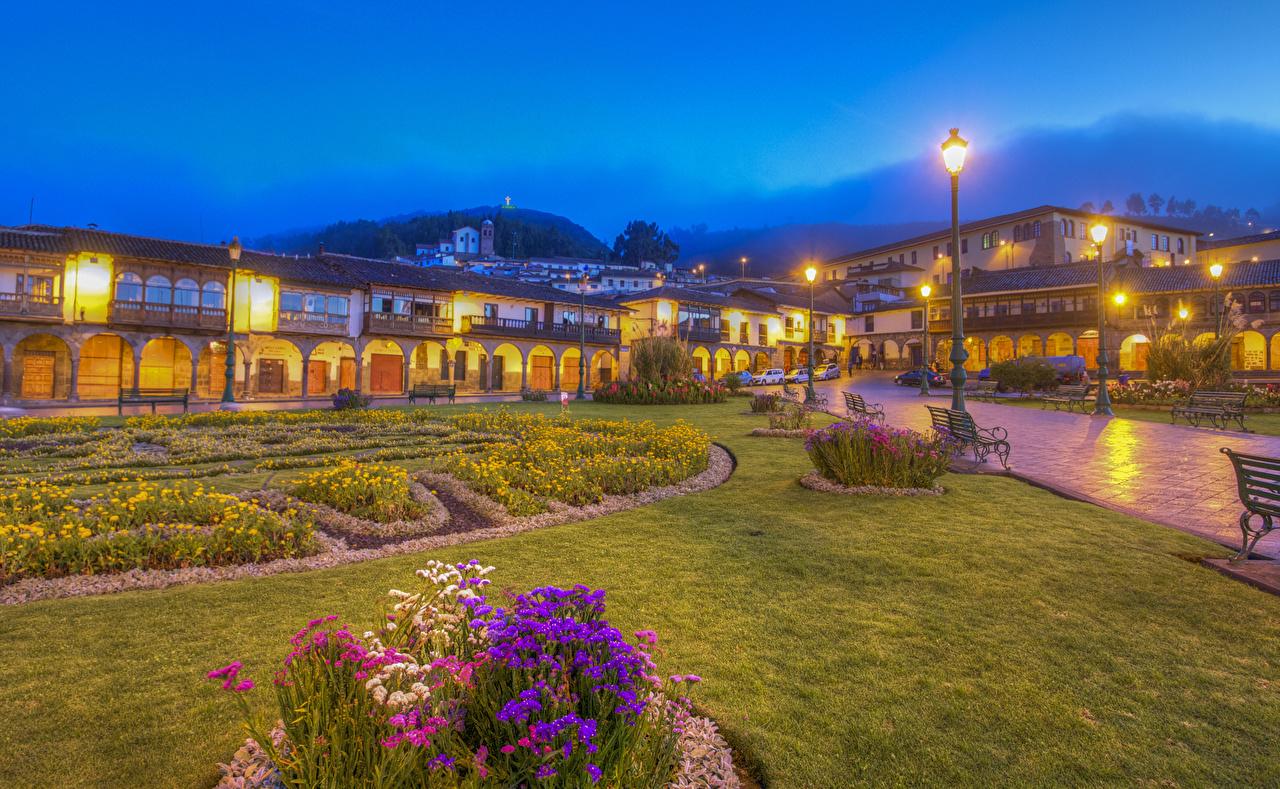Photos Peru Cusco HDRI Lawn Bench Evening Street lights Cities Building HDR Houses
