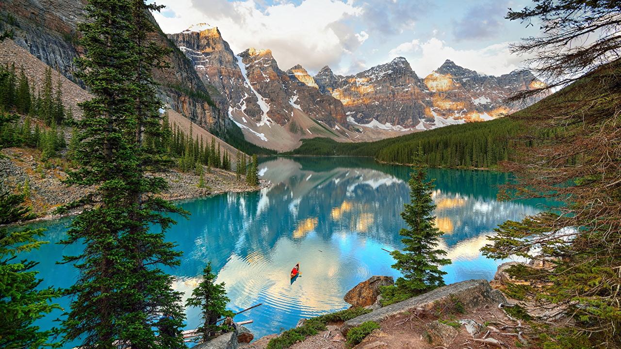 Desktop Wallpapers Banff Canada Moraine Lake Nature Spruce