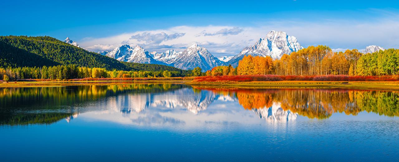 EUA Parque Montanhas Outono Lago Fotografia de paisagem Panorama Grand Teton National Park montanha, parques, Estados Unidos, panorâmica Naturaleza