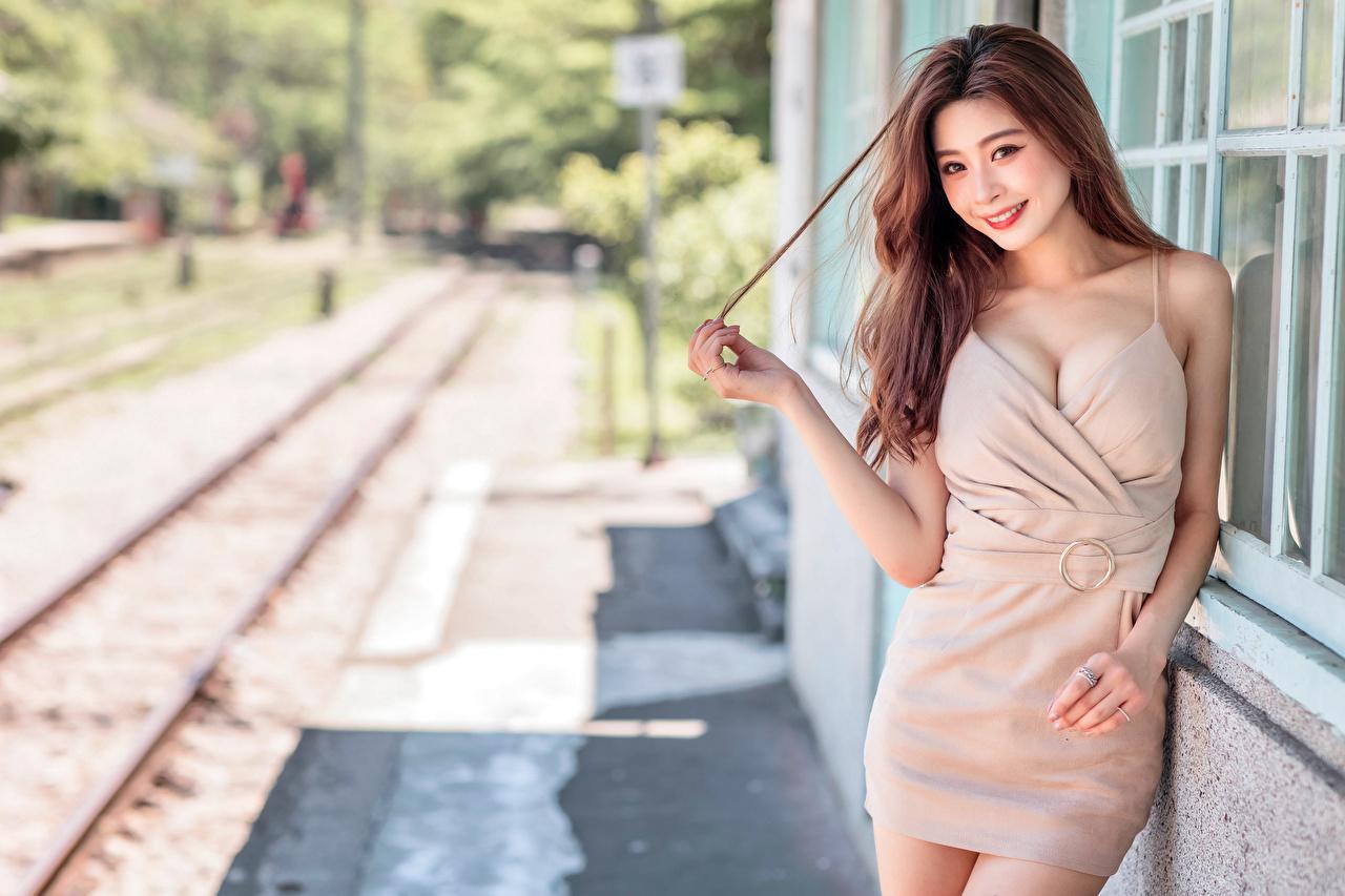 Fotos von Braunhaarige Lächeln Bokeh Mädchens Asiatische Blick Kleid Braune Haare unscharfer Hintergrund junge frau junge Frauen Asiaten asiatisches Starren