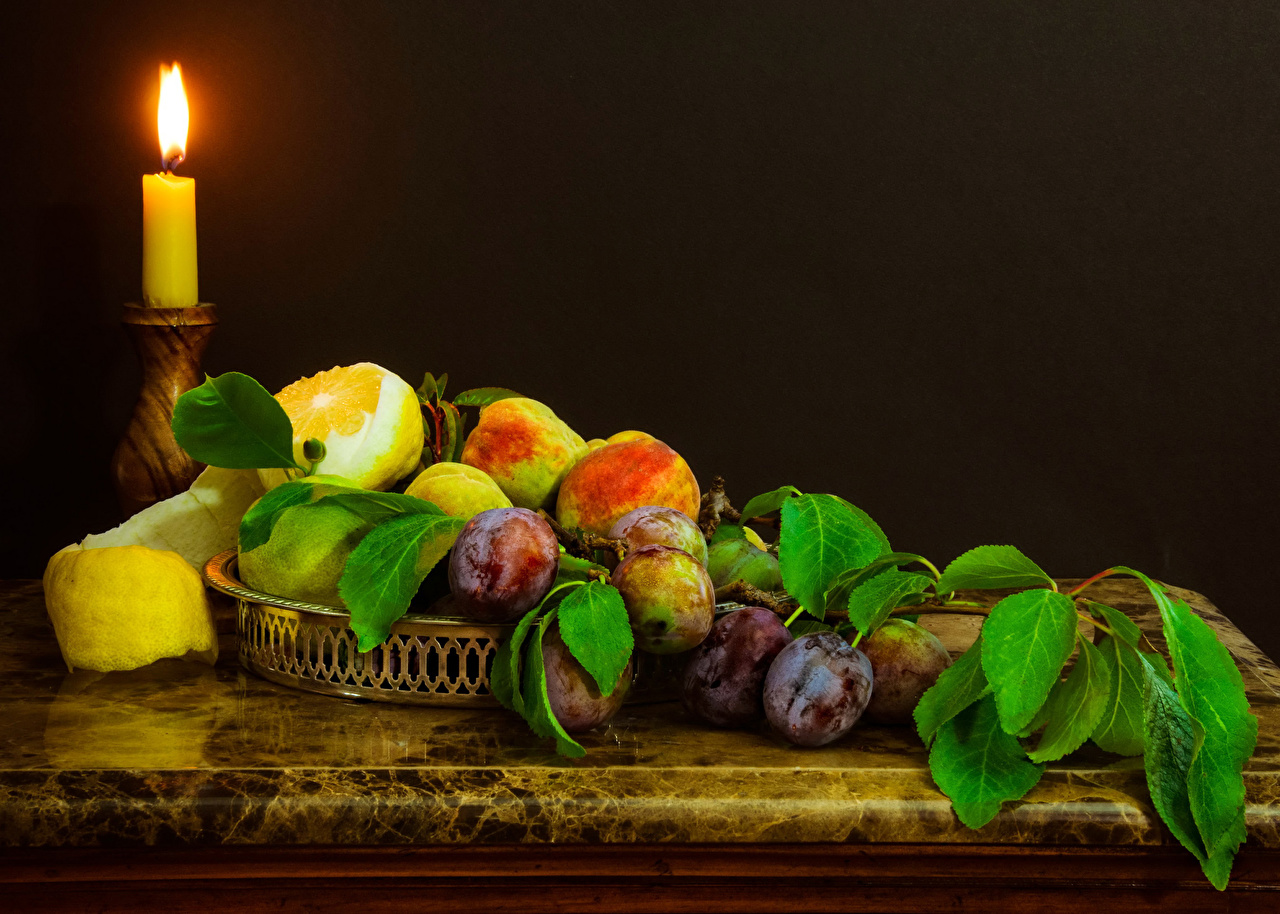 Wallpaper Plums Lemons Food Fruit Candles